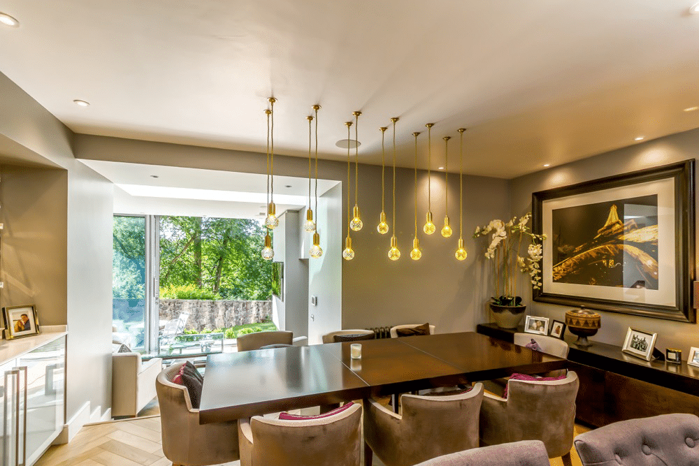 modern dining room with patio doors
