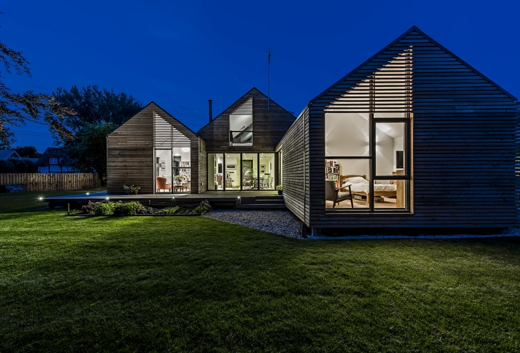 modern house with bifold doors and large windows