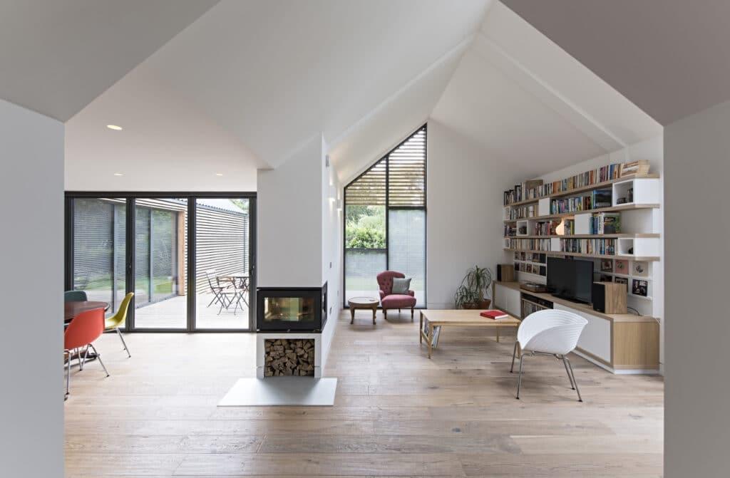 open plan living room with bifold doors