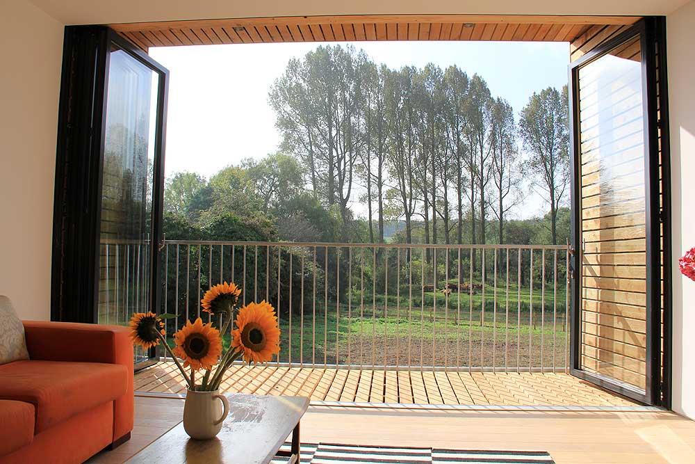 balcony with bifold doors