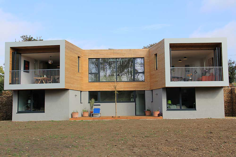 modern house with bifold doors