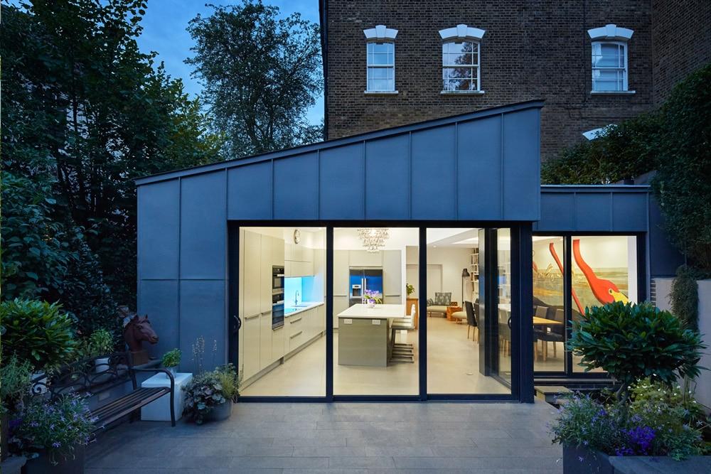 sliding door into open plan kitchen