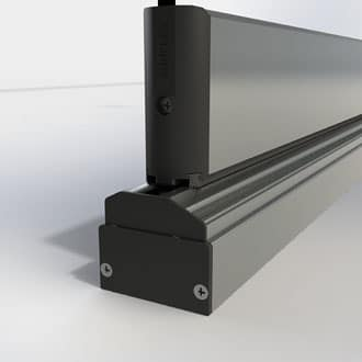Adjustable profile end cap for height compensation profile and bottom track