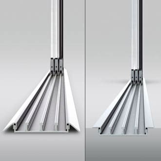 """Optionally a flat bottom rail (height = 13 mm) is available which is particularly suitable for indoond """"barrier-free dwelling"""" in compliance with DIN 18025 - whether mounted or recessed into the floor."""