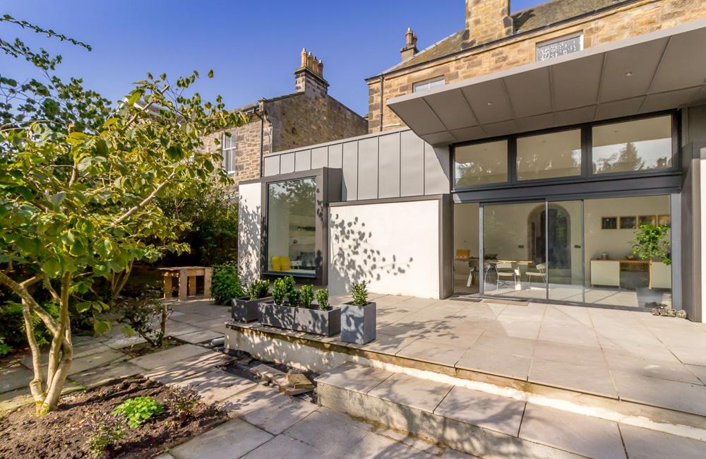 Zinc clad garden extension in Scotland