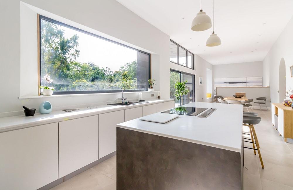 Large fixed frame kitchen windows