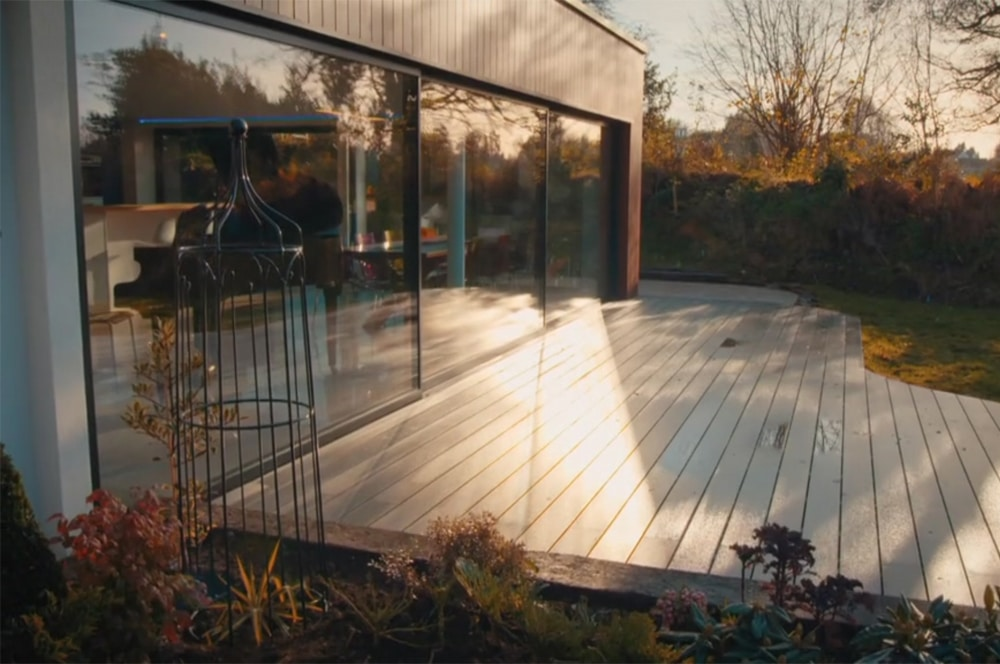 The stunning glazed doors reflect the beautiful scenery and countryside views